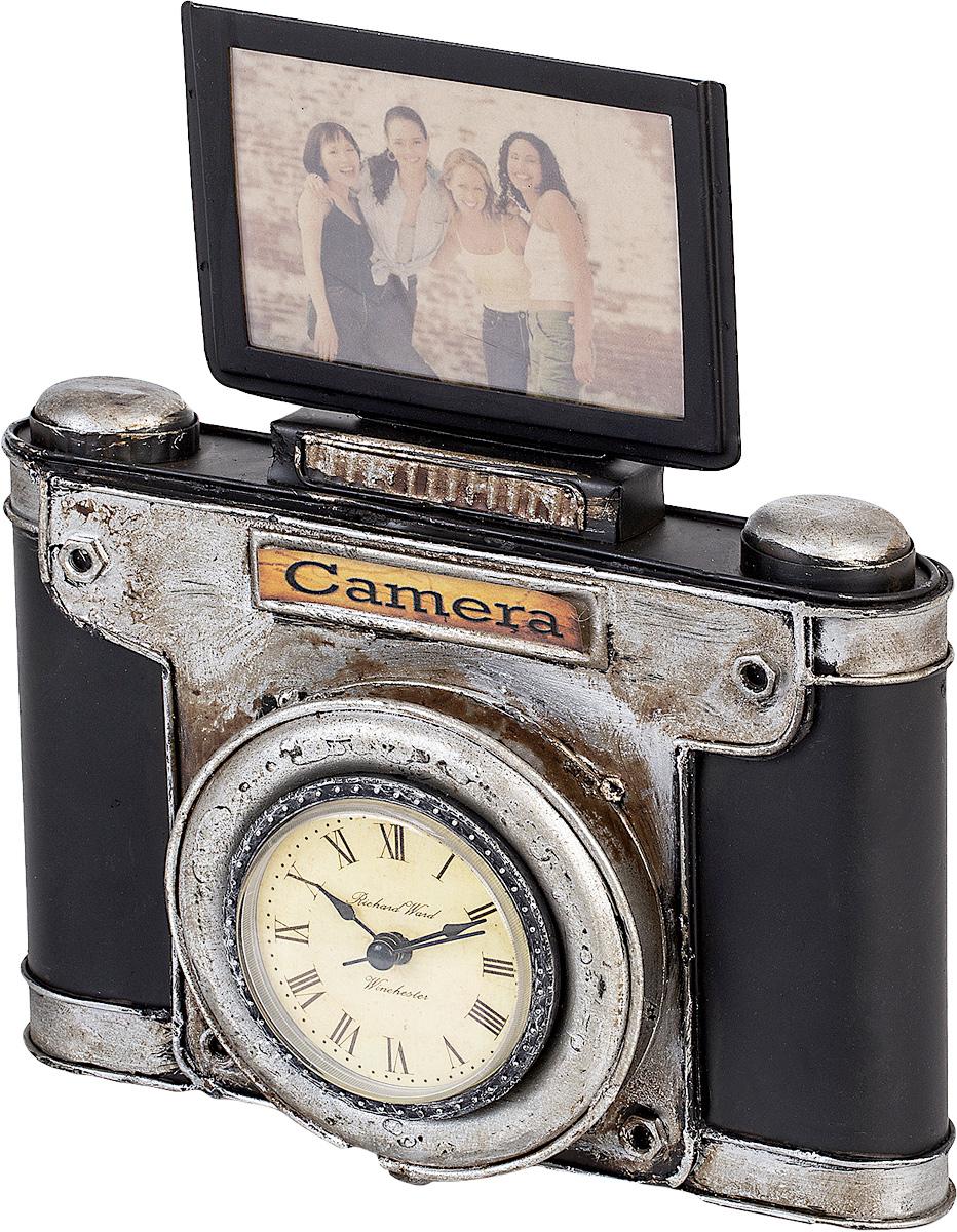 Фоторамка с часами Platinum Фотокамера, цвет: черный. 1404B-13341404B-1334