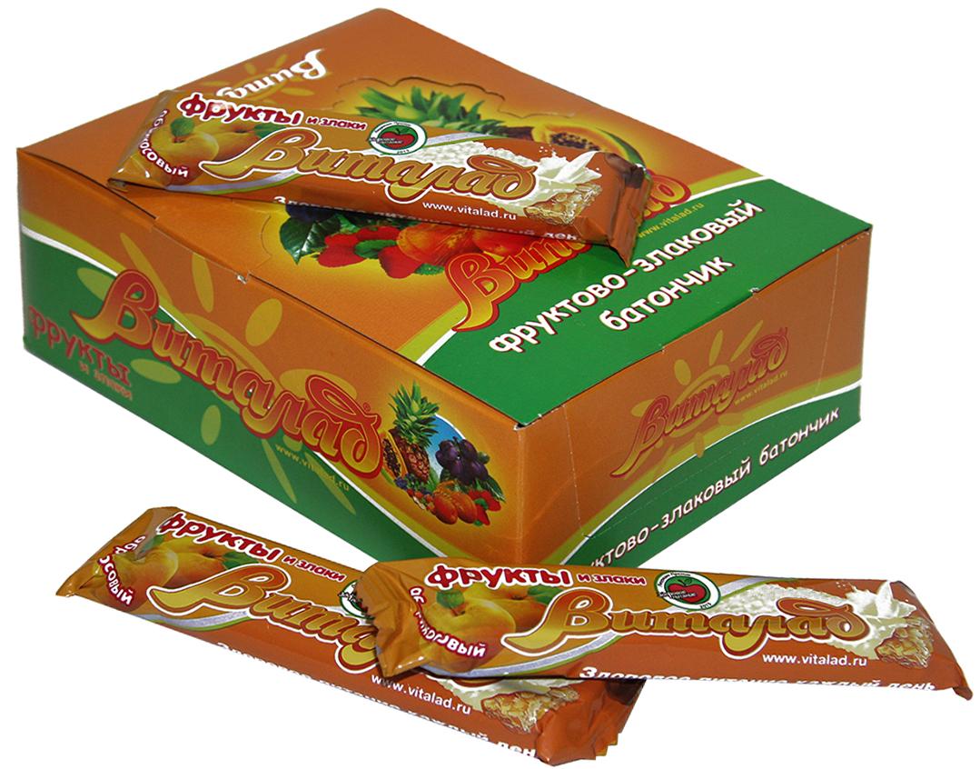 Виталад Абрикосовый злаковый батончик, 40 г4601772000203Хлопья 4-х зерновые (хлопья овсяные, ржаные, пшеничные, ячменные)Баланс витаминов и микроэлементов.Без сахара
