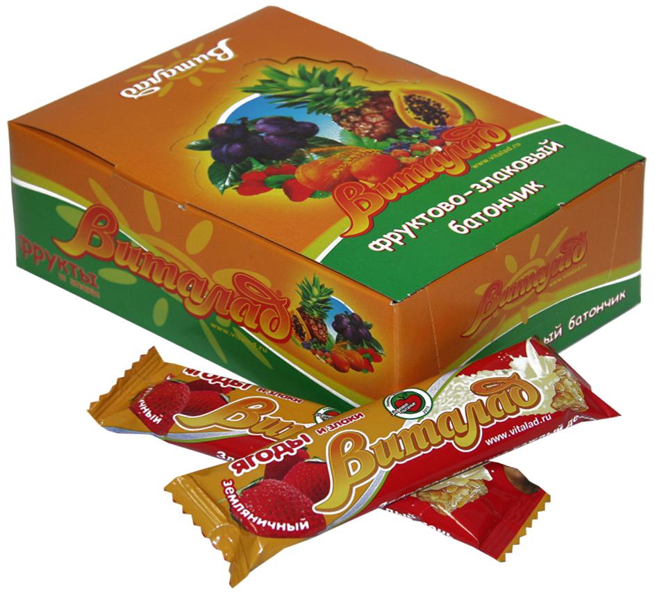 Виталад Земляничный злаковый батончик, 24 шт по 40 г4601772000227В составе хлопья 4-х зерновые (овсяные, ржаные, пшеничные, ячменные). Баланс витаминов и микроэлементов. Без сахара.