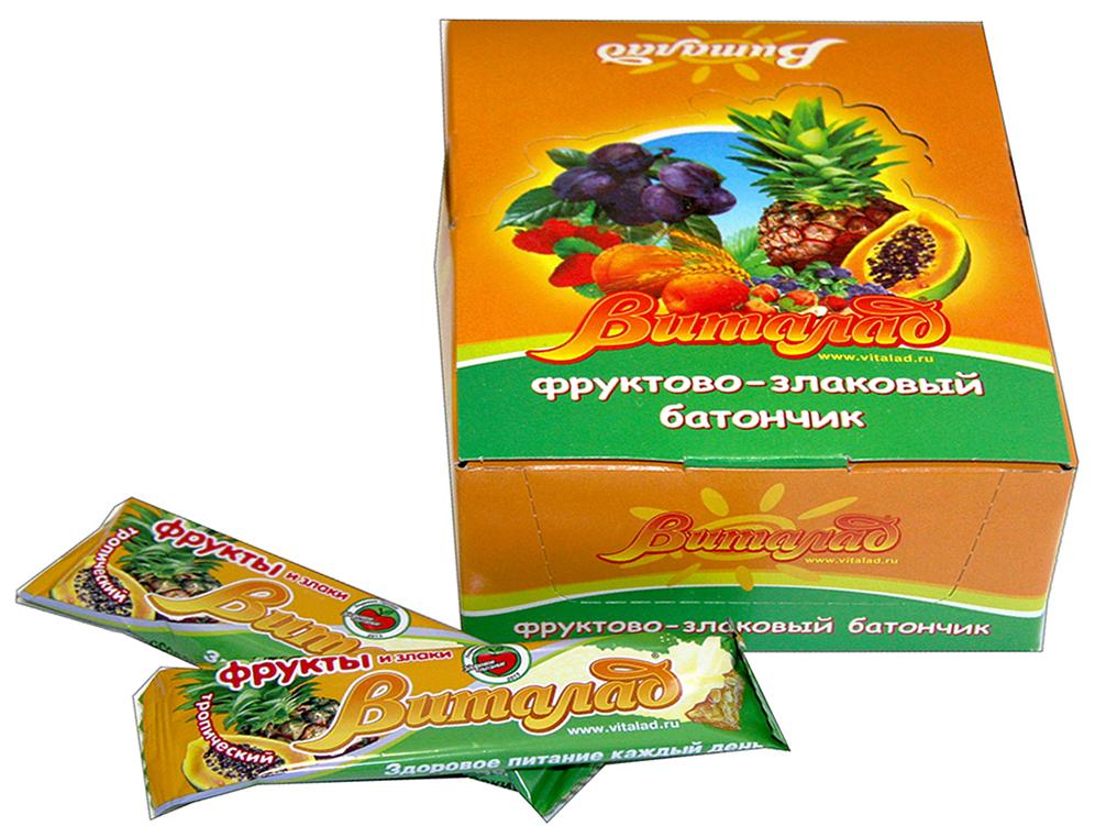 Виталад Тропический злаковый батончик, 24 шт по 40 г4601772000173Хлопья 4-х зерновые (хлопья овсяные, ржаные, пшеничные, ячменные)Баланс витаминов и микроэлементов.Без сахара