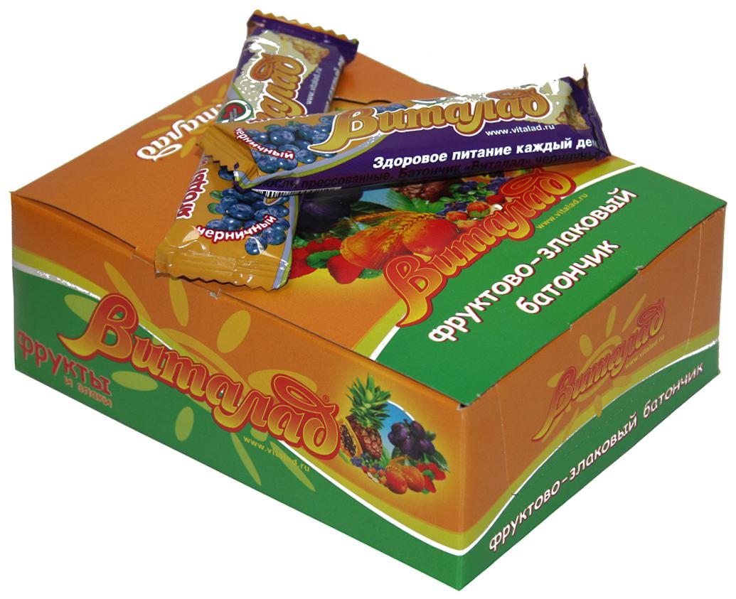 Виталад Черничный злаковый батончик, 24 шт по 40 г4601772000210Хлопья 4-х зерновые (хлопья овсяные, ржаные, пшеничные, ячменные)Баланс витаминов и микроэлементов.Без сахара