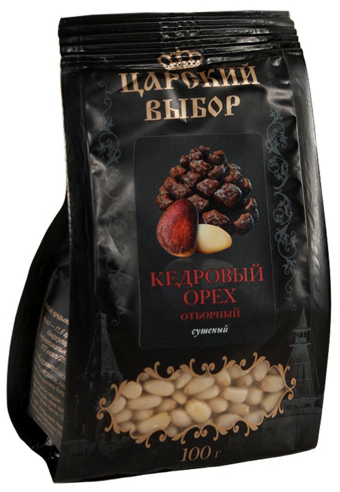 Царский выбор Кедровый орех отборный сушеный, 100 г4670018270274Кедровые орехи богаты витаминами: К, Е, А, В1, В2, В3, В6 и В12. Особо ценные - жирные кислоты, которых в орехах максимальное количество.Растительный белок идеально сбалансирован, по составу близок к белкам ткани человека и усваивается организмом на 99%.
