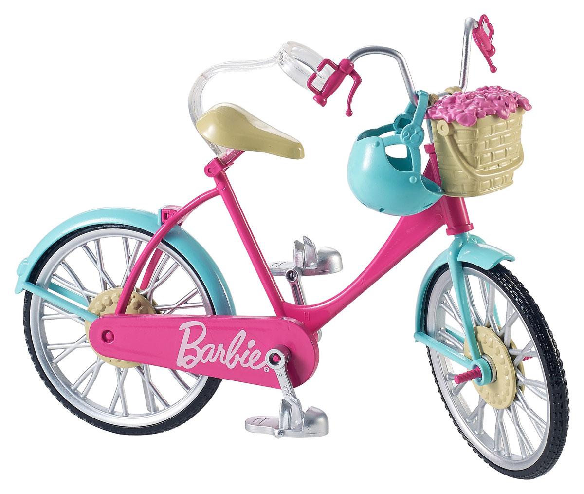 Barbie Велосипед для куклыDVX55Включайте свое воображение и прокатитесь на велосипеде вместе с Barbie! Розовый корпус, бирюзовые щитки и серебристые детали делают велосипед невероятно милым. Педали и колеса крутятся, как у настоящего велосипеда. Посадите куклу Barbie (продается отдельно) на велосипед и специальная застежка удержит ее в седле. Шлем предохраняет куклу от повреждений. Украсьте велосипед, повесив спереди корзинку с цветами. В комплекте: велосипед с корзинкой цветов, шлем и другие аксессуары.