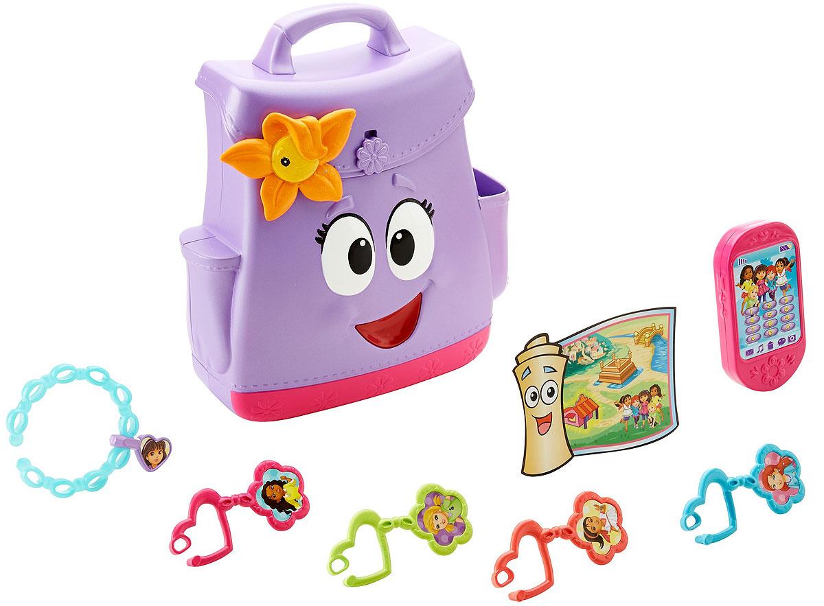 Dora And Friends Рюкзачок Даши-путешественницыDNV70Отправляйтесь в путешествие с рюкзаком и его другом Цветком! В этом рюкзаке имеется все, что нужно детям для приключений и открытий: карта, игрушечный смартфон и браслет, прямо как у Даши! В комплект также входят брелоки для ключей с фотографиями друзей Даши - Алана, Кейт, Наи и Эммы!
