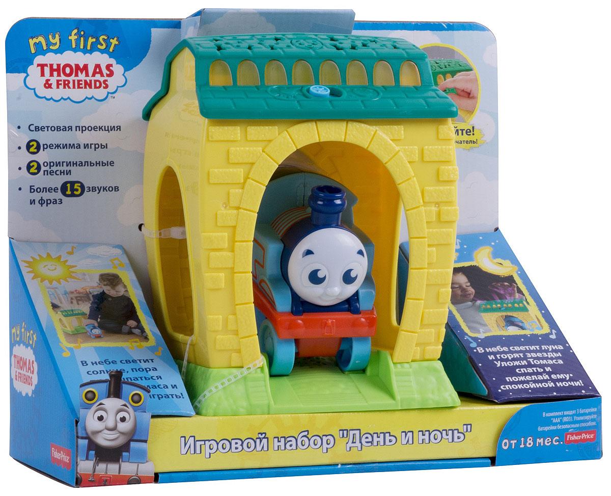 Thomas & Friends Игровой набор День и ночьFFX56Игровой набор - маленький ангар, где спит паровозик Томас. На крыше ангара есть переключатель дня и ночи, который активирует фразы, звуки, мелодии и световые эффекты. Когда Томаса катят вперед, он издает характерные звуки паровозика.