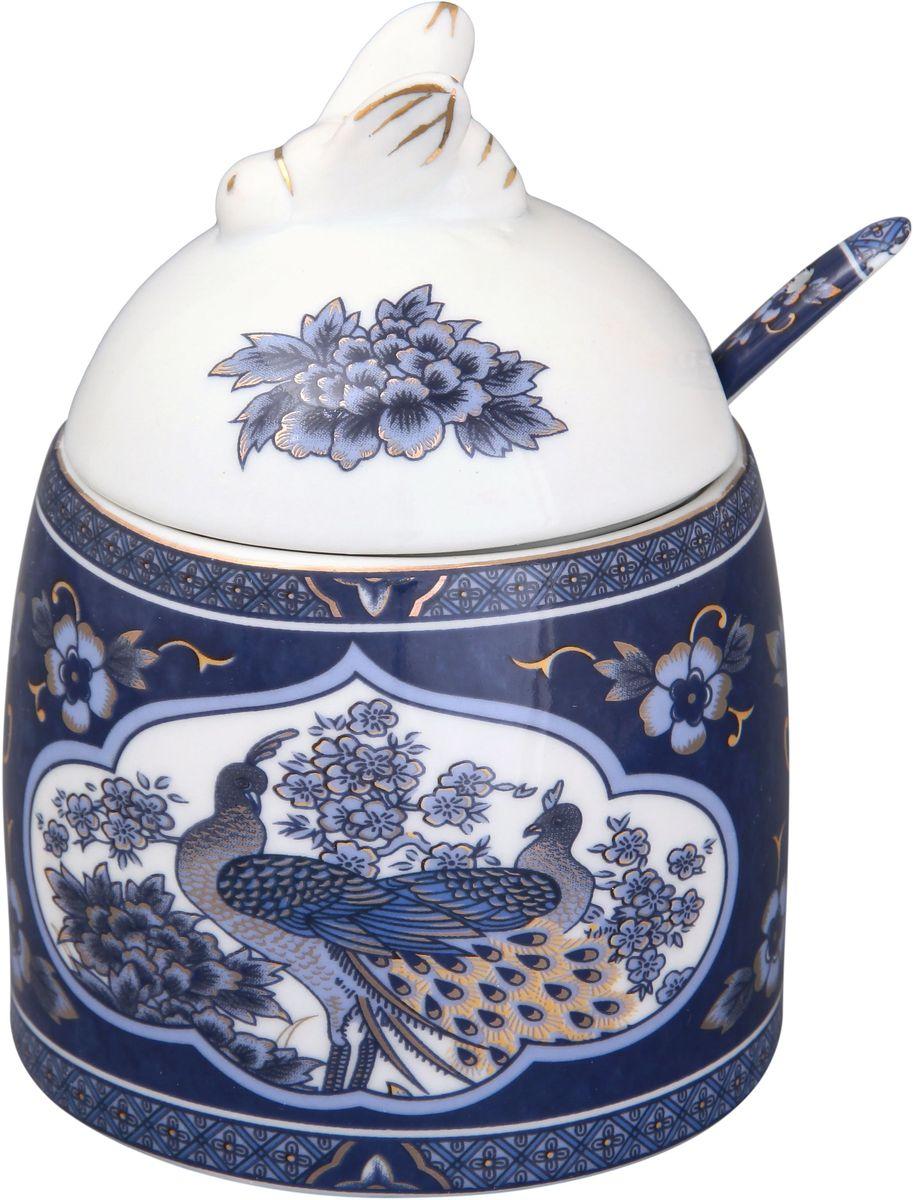 Горшочек для меда Elan Gallery Павлин синий, цвет: розовый, с ложкой, 300 мл180445