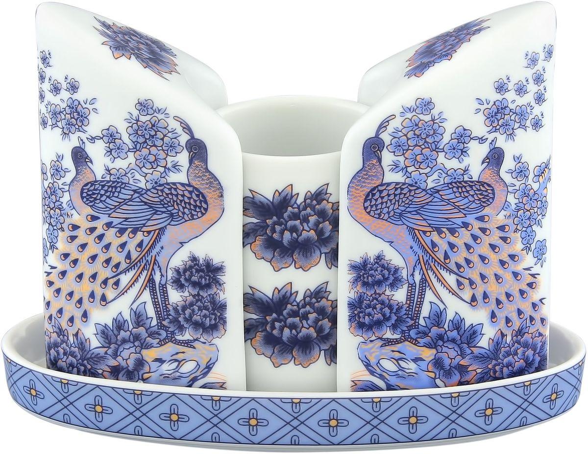 Набор для специй Elan Gallery Павлин синий, 11,5 х 5 х 9 см, 3 предмета180722