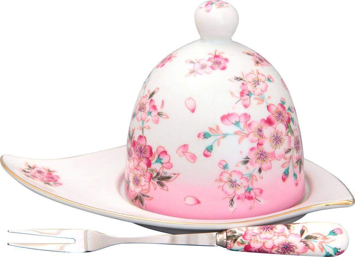 Подставка под лимон Elan Gallery Сакура, с вилкой, 16 х 11 х 9 см180730Подставка под лимон состоит из блюда, крышки и вилочки. Украсит любое событие и сохранит лимон от заветривания. Изделие имеет подарочную упаковку, поэтому станет желанным подарком для Ваших близких! .