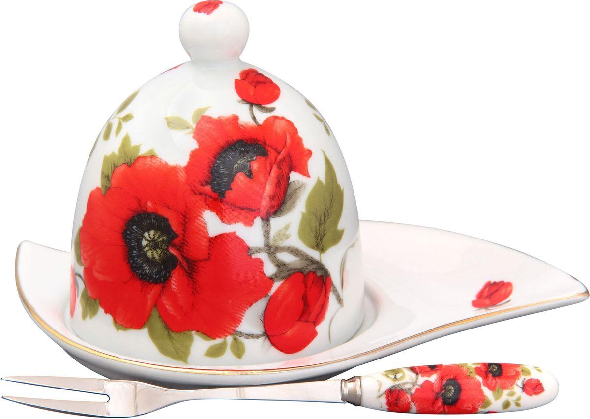 Подставка под лимон Elan Gallery Маки, с вилкой, 16 х 11 х 9 см180731Изящная посуда, изготовленная из высококачественной керамики с прекрасным цветочным дизайном прекрасно дополнит интерьер Вашей кухни. А также станет отличным подарком Вашим друзьям и близким.