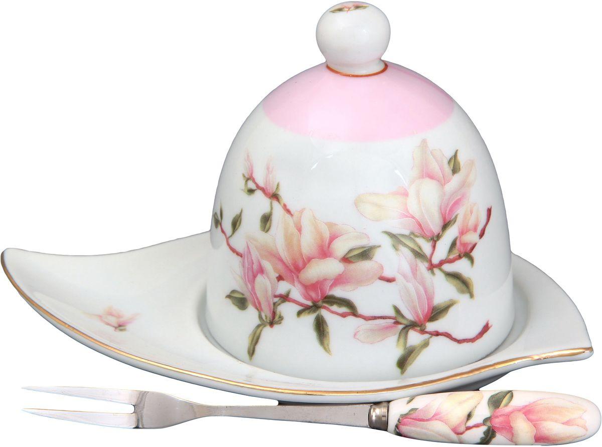 Подставка под лимон Elan Gallery Орхидея, с вилкой, цвет: розовый, 16 х 11 х 9 см180733Подставка под лимон состоит из блюда, крышки и вилочки. Украсит любое событие и сохранит лимон от заветривания. Изделие имеет подарочную упаковку, поэтому станет желанным подарком для Ваших близких! Не рекомендуется применять абразивные моющие средства. .