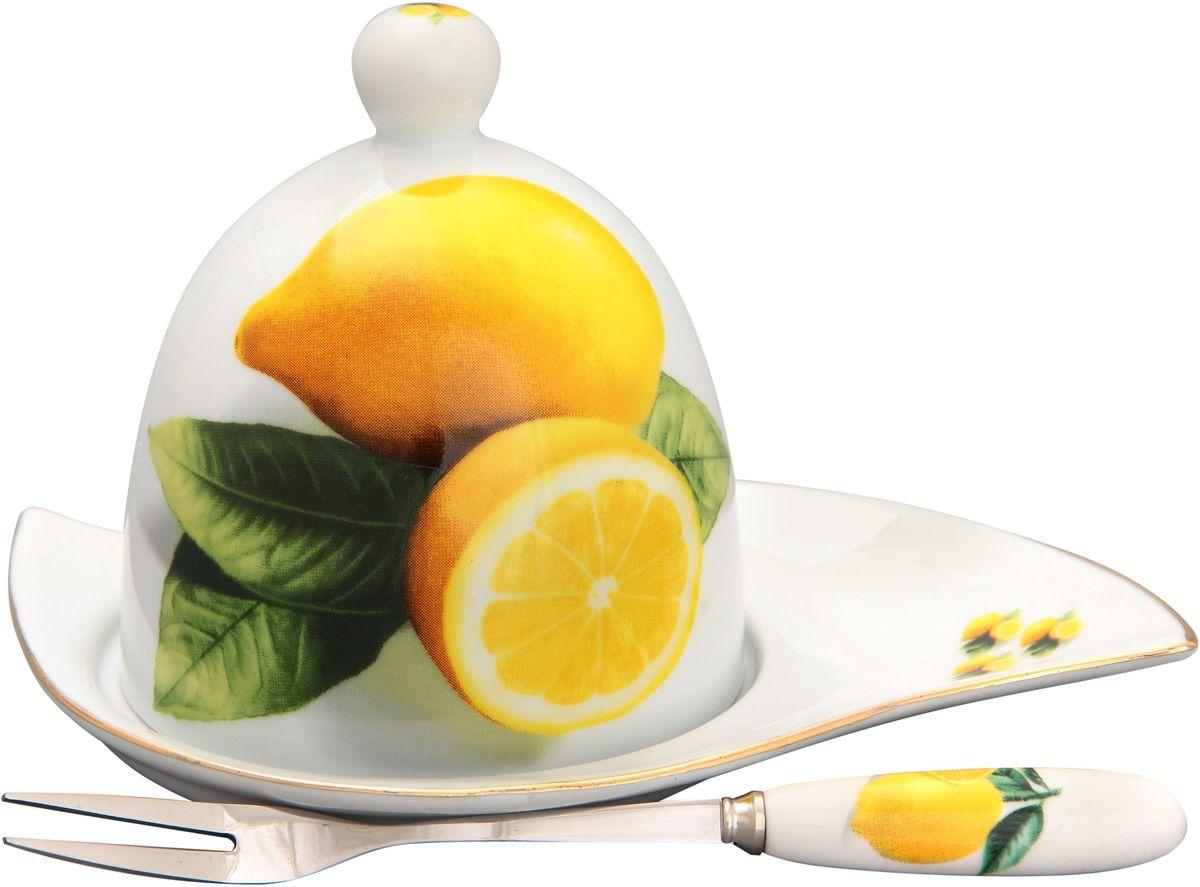 Подставка под лимон Elan Gallery Лимоны, с вилкой, 16 х 11 х 9 см180735Подставка под лимон состоит из блюда, крышки и вилочки. Украсит любое событие и сохранит лимон от заветривания. Изделие имеет подарочную упаковку, поэтому станет желанным подарком для Ваших близких! Не рекомендуется применять абразивные моющие средства. .