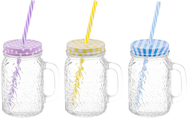 Набор кружек для глинтвейна/коктейля Elan Gallery Настроение, с крышками и трубочками, 500 мл, 9 предметов300034Набор состоит из трех стеклянных кружек с завинчивающимися крышками и трех пластиковых трубочек. Кружки идеально подходят для глинтвейна, также их можно использовать для прохладительных напитков, какао, шоколада. Набор станет отличным подарком на любой праздник, украсит и добавит неповторимый шарм любому дому.