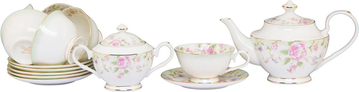 Чайный набор Elan Gallery Карнавал цветов, 230 мл, 14 предметов530054Чайный сервиз на 6 персон из серии в красивой подарочной упаковке. Легкие изящные чашки объемом 230 мл, большие блюдца. В комплекте 6 чашек, 6 блюдец, вместительный элегантный чайник объемом 900 мл и сахарница 430 мл Этот чайный сервиз подходит для праздничного стола и является великолепным подарком!