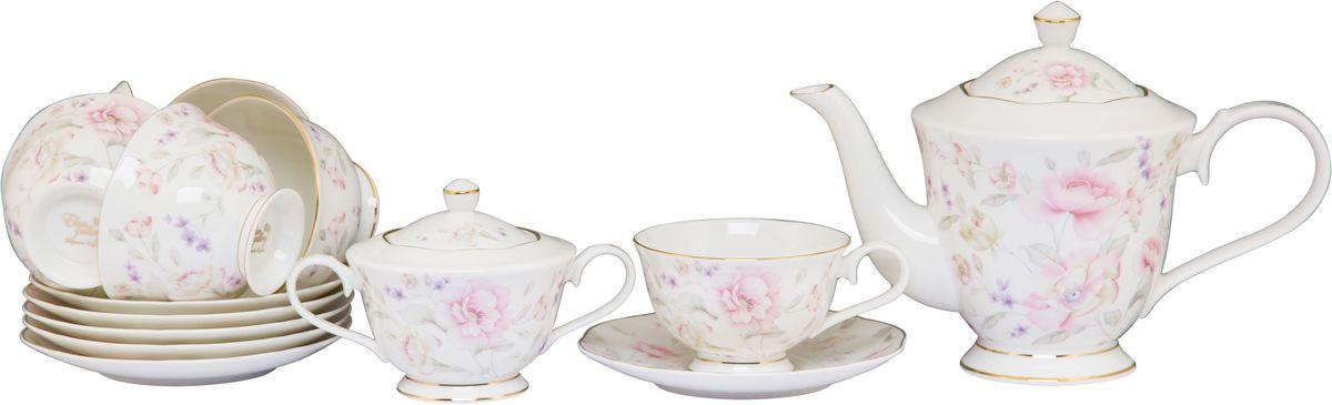 Чайный набор Elan Gallery Жизель, 220 мл, 14 предметов530061Чайный сервиз на 6 персон из серии в красивой подарочной упаковке. Легкие изящные чашки объемом 230 мл, большие блюдца. В комплекте 6 чашек, 6 блюдец, вместительный элегантный чайник объемом 1 л и сахарница 350 мл Этот чайный сервиз подходит для праздничного стола и является великолепным подарком!
