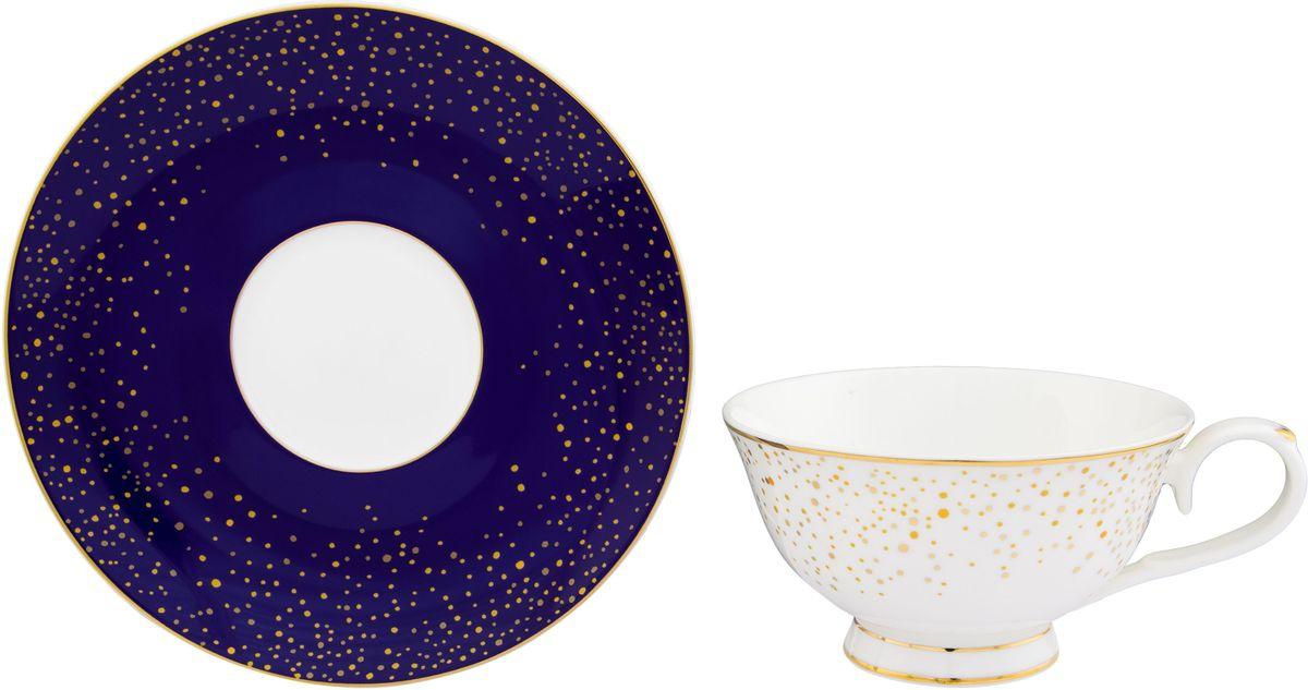 Чайная пара Elan Gallery День и ночь, 220 мл530080Шикарная чайная пара на 1 персону в нежных тонах станет памятным подарком. В комплекте 1 чашка на ножке объемом 220 мл, 1 блюдце. Изделие имеет подарочную упаковку из полипропилена с бантиком.