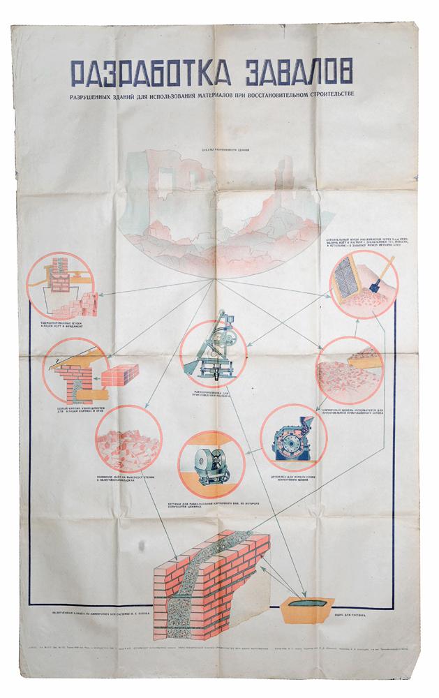 Плакат Разработка завалов. Стройиздат Наркомстроя. СССР, 1944 год
