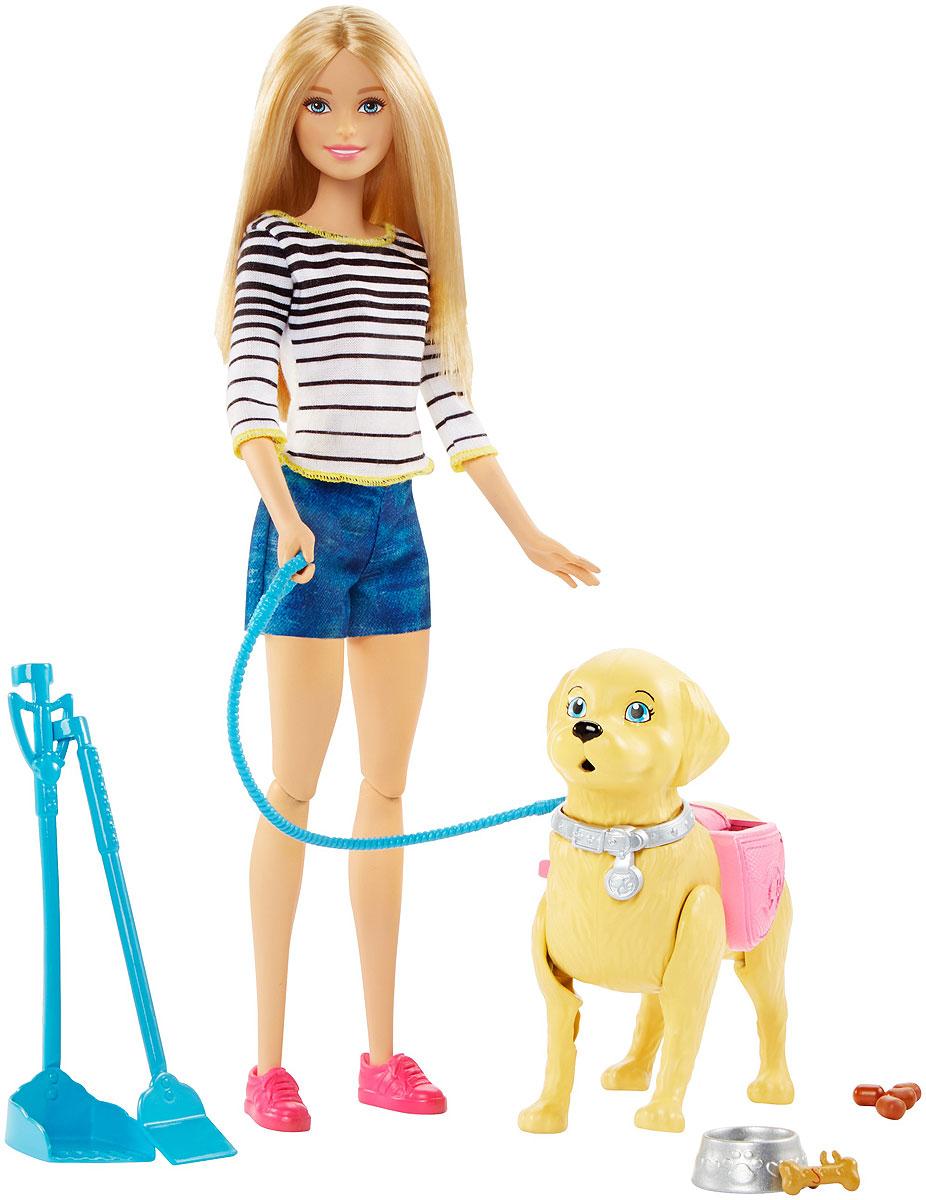 Barbie Игровой набор с куклой Прогулка с питомцемDWJ68Этот милый щеночек покорил сердце куклы Barbie с первого взгляда! Теперь и вы можете помочь своей Barbie вывести собаку на прогулку! Хорошенько следите за ним и не давайте Барби выпустить поводок из рук. Когда собака захочет в туалет, нажмите на ее хвост. С помощью совка и метелки кукла может убрать за питомцем. Наградите своего щенка специальной косточкой за хорошее поведение и не забудьте покормить из миски, когда вернетесь домой. Кукла одета в полосатую кофточку, джинсовые шорты и розовые кеды, что прекрасно подходит для долгой прогулки с питомцем.