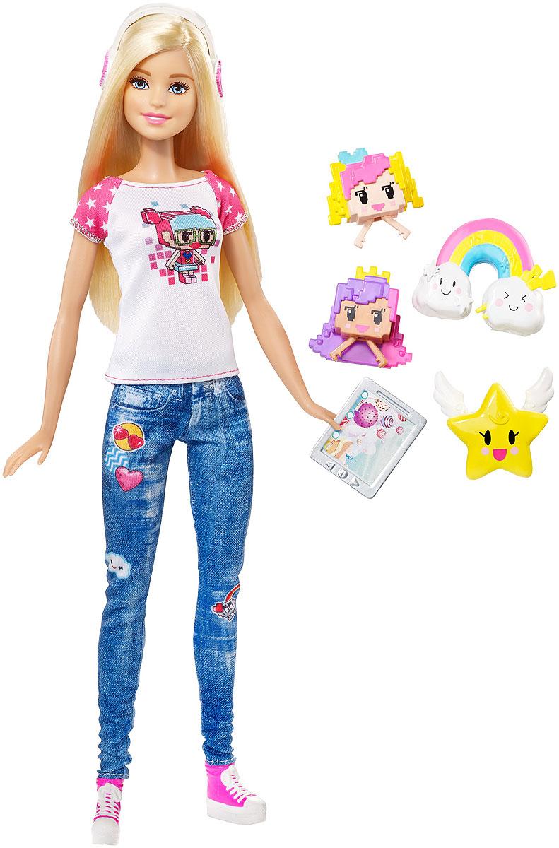 Barbie Кукла Виртуальный мир цвет одежды джинсовый белыйDTV96Играйте по своим правилам вместе с куклой Barbie! Эта кукла из линейки Виртуальный мир ищет вдохновение для своих нарядов в реальном мире. Ей нравится играть в игры и создавать их. Она - настоящий программист, который знает толк в стиле: бело-розовая футболка с геймерским принтом, экстравагантные джинсы и розовые кеды. Стильные бело-розовые наушники довершают образ. Вспомните любимую игру или придумайте свои собственные правила! Соберите всех кукол Виртуальный мир и создайте свою собственную игру.