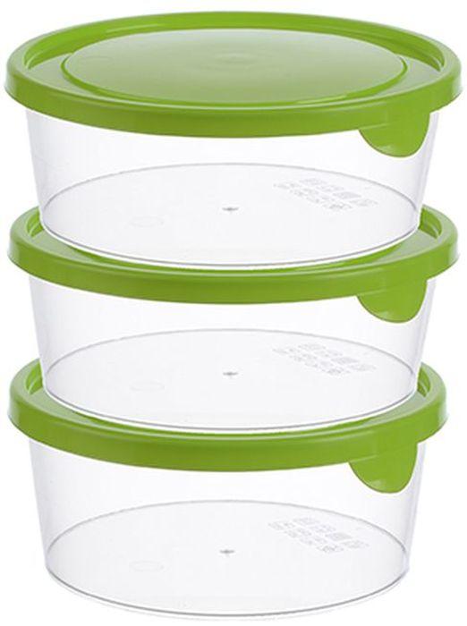 Набор контейнеров Idea, круглые, цвет: салатовый, 0,5 л, 3 штМ 1440