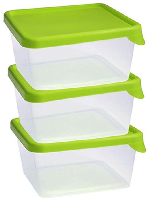 Набор контейнеров Idea, квадратные, цвет: салатовый, 0,5 л, 3 штМ 1443