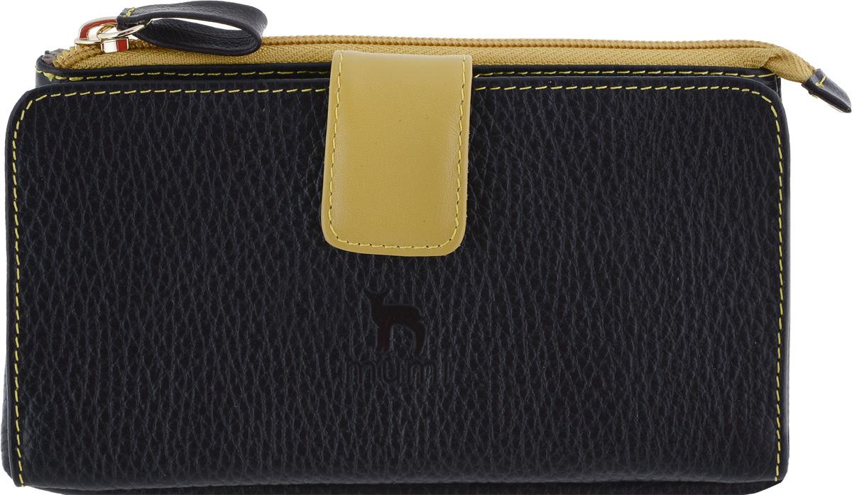 Портмоне женское Dimanche Mumi, цвет: черный, горчичный. 292292_черный, горчичныйОригинальное изделие, сочетающее в себе функции портмоне и косметички. Отделение на молнии ( косметичка) большое, вместительное, на подкладке, может использоваться как для ношения мелочи, косметики, как и для паспорта и мобильного телефона. Во втором отделении ( портмоне) есть карман для купюр , прозрачный карман-окошко и 13 карманов для визиток/кредиток.