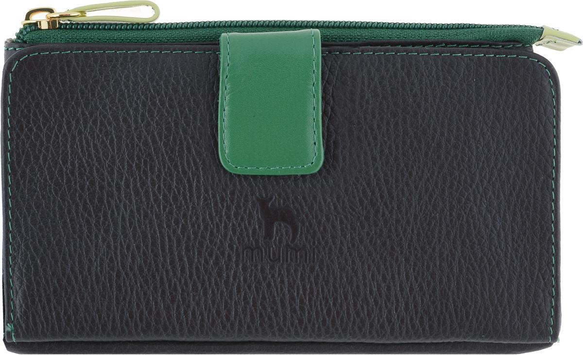 Портмоне женское Dimanche Mumi, цвет: черный, зеленый. 293293_черный, зеленыйОригинальное изделие, сочетающее в себе функции портмоне и косметички. Отделение на молнии ( косметичка) большое, вместительное, на подкладке, может использоваться как для ношения мелочи, косметики, как и для паспорта и мобильного телефона. Во втором отделении ( портмоне) есть карман для купюр , прозрачный карман-окошко и 13 карманов для визиток/кредиток.