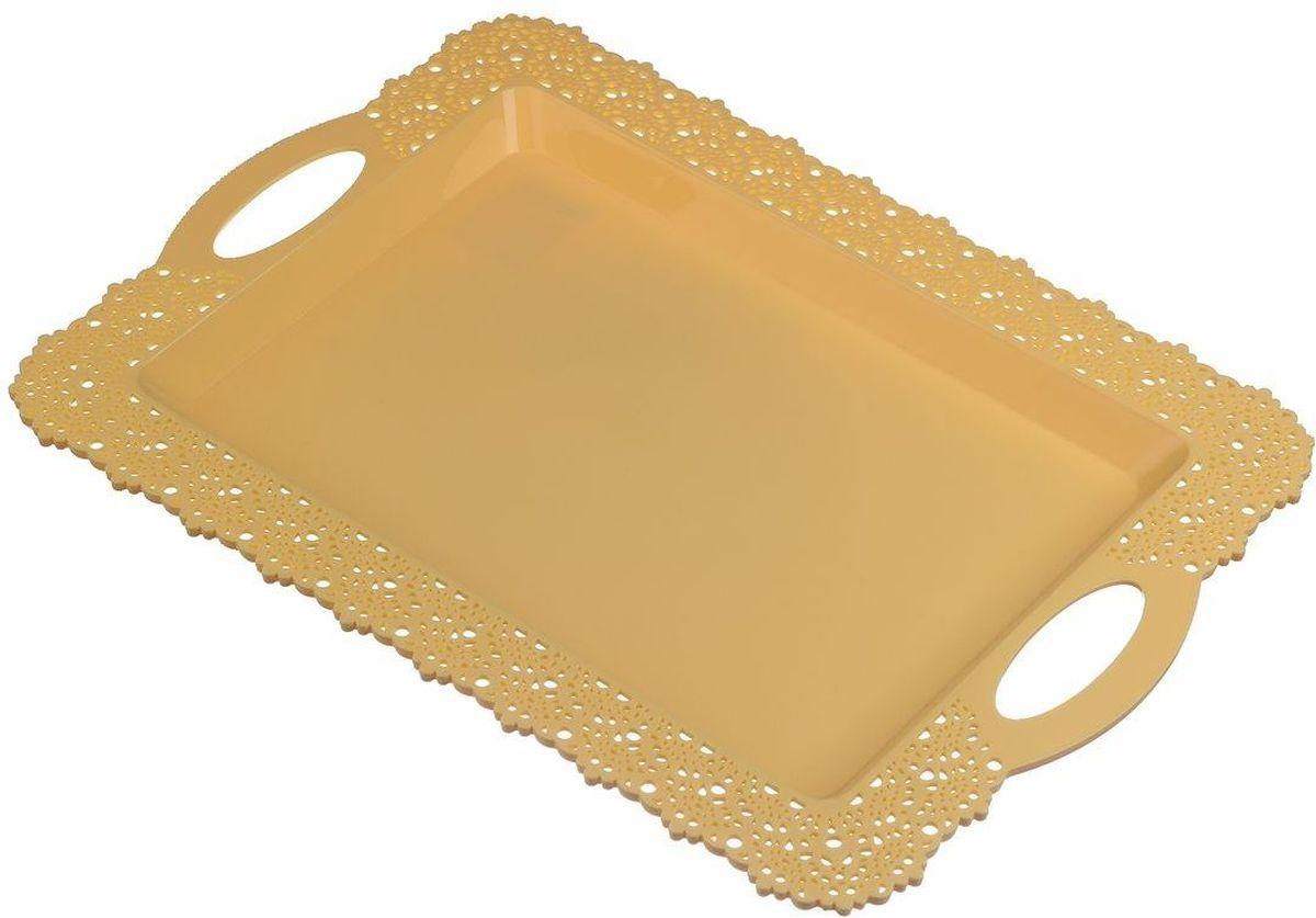 Поднос Idea Ажур, цвет: желтый, 30,5 х 43 смМ 1114Прямоугольный поднос Idea Ажур, изготовленный из высококачественного полипропилена, оснащен невысокими бортиками и ручками, благодаря которым его удобно переносить. Изделие можно использовать как для сервировки стола, так и для декора кухни. Поднос Idea Ажур прекрасно дополнит любой интерьер и добавит в обычную обстановку нотки романтики и изящества.