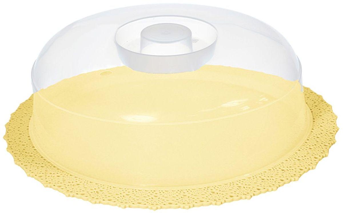 Тортовница Idea Ажур, цвет: желтый, прозрачный, диаметр 33 смМ 1122Тортовница Idea Ажур изготовлена из высококачественного прочного полипропилена. Крышка плотно прилегает и имеет удобную ручку. Изделие очень гигиенично и легко моется. Можно мыть в посудомоечной машине.