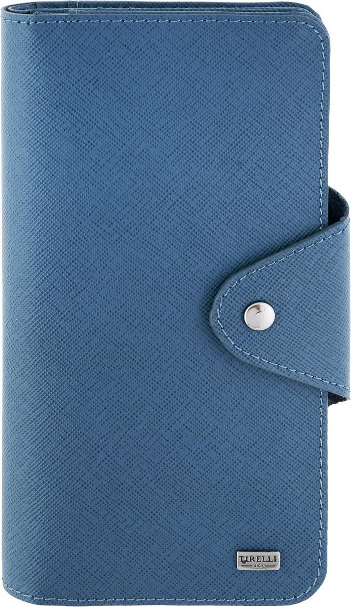 Купюрник Tirelli Виктория, цвет: синий. 15-252-0215-252-02Купюрник Tirelli Виктория изготовлен из натуральной кожи синего цвета с рельефной текстурой и закрывается хлястиком на кнопку. Купюрник оформлен фирменным логотипом. Внутри имеется четыре отделения для купюр, шестнадцать кармашков для хранения пластиковых карт, визиток, дисконтных карт, два отделения с сетчатым окошком для фотографий, три потайных кармашка для бумаг, карман на застежке-молнии и открытый кармашек. Такой купюрник станет отличным подарком для человека, ценящего качественные и необычные вещи. Изделие упаковано в подарочную коробку синего цвета с логотипом фирмы Tirelli. Характеристики: Материал: натуральная кожа, металл. Цвет: синий. Размер портмоне (в сложенном виде): 9,5 см х 18 см х 2,5 см.
