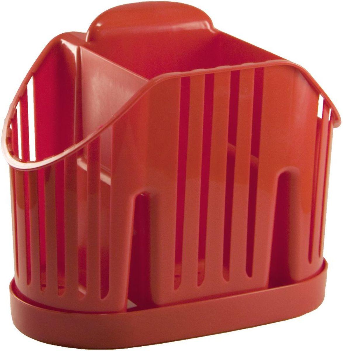 Сушилка для для столовых приборов Idea, 3 секции, цвет: красныйМ 1160