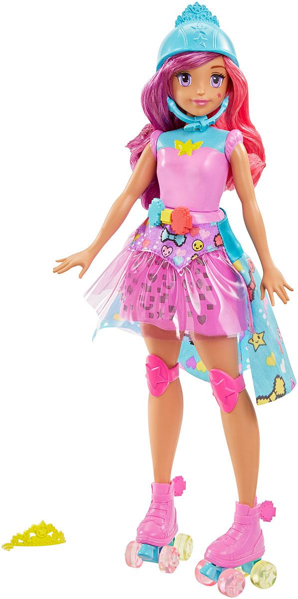 Barbie Кукла Виртуальный мир ПринцессаDTW00Играйте по своим правилам вместе с куклой Barbie! Наряд куклы-скейтера из линейки Barbie и виртуальный мир - это целая игра! Нажмите кнопку. Юбочка куклы по очереди засветится 3 цветами. Повторите последовательность с помощью кнопок на ремне куклы. Игра усложняется: всего имеется 5 уровней сложности. А еще ролики куклы светятся, и она готова мчать вперед! Трико с бабочкой, светящаяся юбка и розовые наколенники - отличный наряд для гонки. Локоны куклы с розовыми прядками можно украсить золотистой тиарой или надеть шлем. Куклы, пожалуй, самые популярные игрушки в мире. Девочки обожают играть с ними, отправляясь в сказочную страну грез. Порадуйте свою малышку таким великолепным подарком! В комплект входят 3 батарейки типа AG13/LR44.
