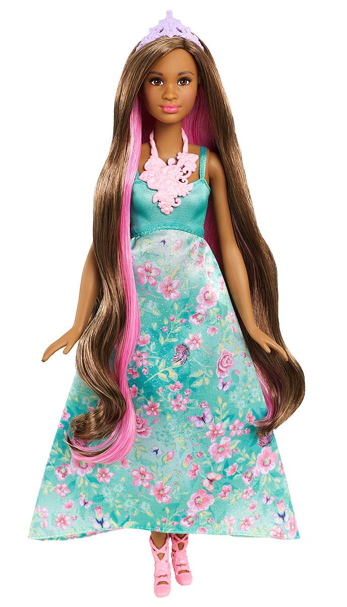 Barbie Кукла Принцесса с волшебными волосами цвет платья бирюзовыйDWH41_DWH43Принцессы Barbie из серии Dreamtopia - это тройное веселье в одной кукле. Волосы этих кукол меняют цвет! Выберите свою куклу Barbie: блондинку в розовом платье или брюнетку в бирюзовом. У каждой длинные локоны и длинные платья с цветочными принтами на пышных юбках. У каждой куклы 3 возможных цвета волос. Поверните макушку куклы, чтобы волосы стали ярко-розовыми. Смочите отдельные прядки холодной водой с помощью губки, чтобы получить фиолетовый оттенок. В комплект входят: пара обуви, тиара, ожерелье, губка и расческа.