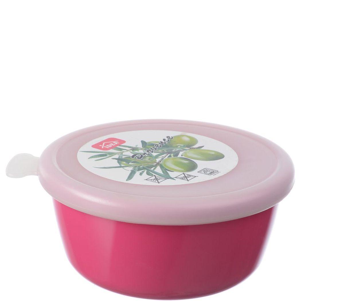 Миска Idea Прованс, с крышкой, цвет: малиновый, 0,35 лМ 1380Миска круглой формы Idea Прованс изготовлена из высококачественного пищевого пластика. Изделие очень функциональное, оно пригодится на кухне для самых разнообразных нужд: в качестве салатника, миски, тарелки. Герметичная крышка обеспечивает продуктам долгий срок хранения. Диаметр миски: 11,5 см. Высота миски: 5,5 см.