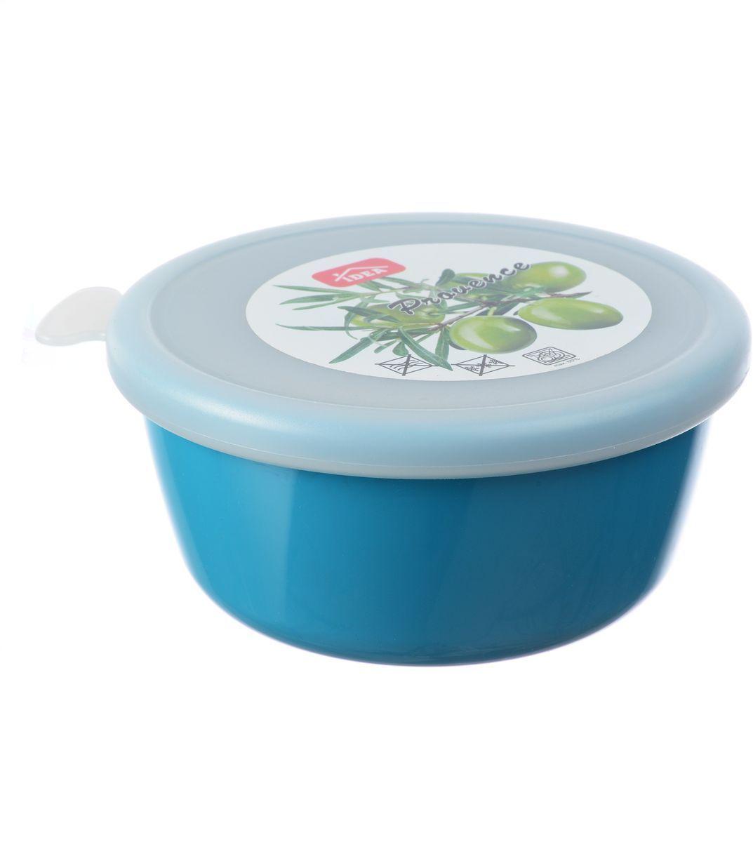 Миска Idea Прованс, с крышкой, цвет: бирюзовый, 0,35 лМ 1380Миска круглой формы Idea Прованс изготовлена из высококачественного пищевого пластика. Изделие очень функциональное, оно пригодится на кухне для самых разнообразных нужд: в качестве салатника, миски, тарелки. Герметичная крышка обеспечивает продуктам долгий срок хранения. Диаметр миски: 11,5 см. Высота миски: 5,5 см.