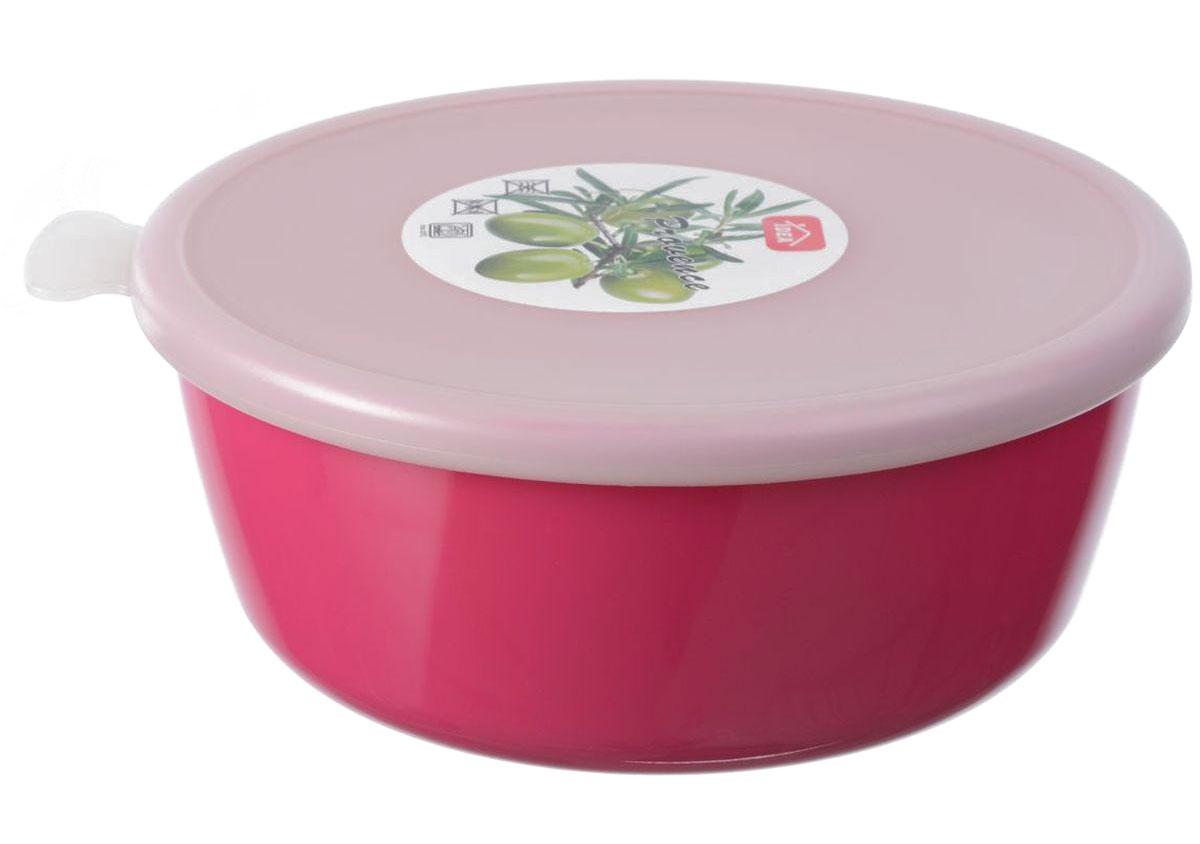 Миска Idea Прованс, с крышкой, цвет: малиновый, 1 лМ 1381