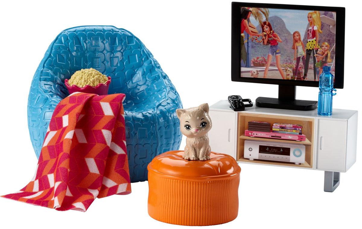 Barbie Мебель для кукол Отдых дома Вечер у телевизораDVX44_DVX46Проведите спокойный вечер дома с набором мебели Barbie. Кукла Barbie (продается отдельно) сможет посмотреть любимый фильм по телевизору или поиграть со своим домашним любимцем, искупать его с шампунем, покормить и уложить на лежанку. Собери всю превосходную мебель и аксессуары, чтобы создать полноценный интерьер для своей куклы Barbie. Все элементы набора выполнены их качественных и безопасных для ребенка материалов. Не упустите шанс порадовать своего ребенка таким замечательным подарком!