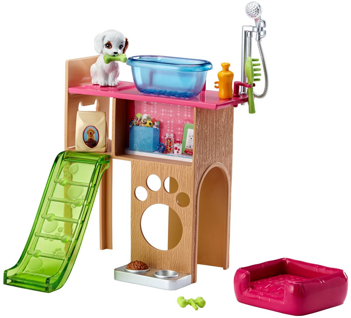 Barbie Мебель для кукол Отдых дома Уголок домашнего питомцаDVX44_DVX50Проведите спокойный вечер дома с набором мебели Barbie. Кукла (продается отдельно) может поиграть со своим домашним любимцем, искупать его с шампунем, покормить и уложить на лежанку. Соберите всю превосходную мебель и аксессуары, чтобы создать полноценный интерьер для своей куклы Barbie. Все предметы набора выполнены из качественного и безопасного пластика.