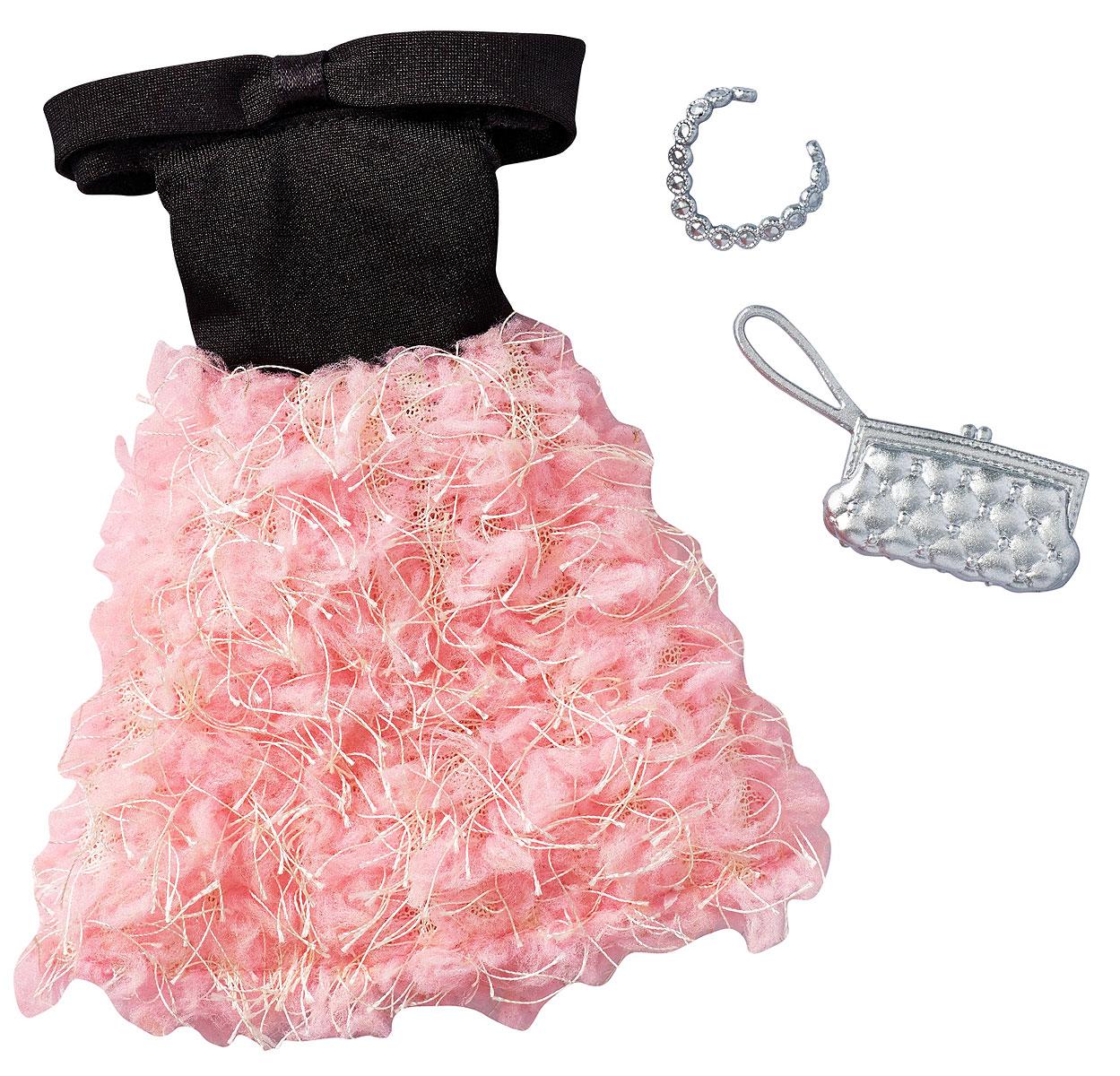 Barbie Платье для кукол Girly FrillyFCT22_DXB03Пусть ваша кукла Barbie (продается отдельно) затмит всех своим ослепительным нарядом и изящными аксессуарами. Откройте в себе талант стилиста и придумайте оригинальную историю с помощью этого набора. Дополните великолепное платье идеальной сумкой и уникальным украшением. Выведите свою куклу Barbie в высший свет: она будет блистать как на дружеской вечеринке, так и на официальном приеме. Бесконечные возможности самовыражения вместе с Barbie! Соберите все наряды и аксессуары для своей куклы Barbie и создавайте неожиданные и смелые сочетания. В наборе одно платье, одна сумка и одно украшение.