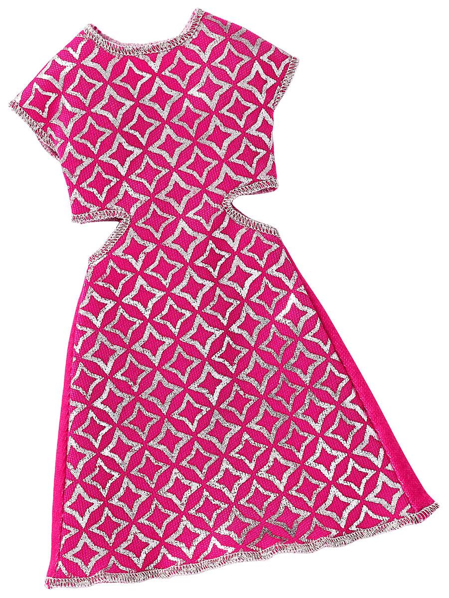 Barbie Одежда для кукол Платье с вырезами цвет розовыйFCT12_DWG08Куклы тоже любят менять наряды! Это прекрасное платье с блестками обязательно придется к лицу красавице Барби. Короткое коктейльное платье изготовлено из текстиля розового цвета. Лицевая часть платья оформлена серебристым принтом, бока с глубокими вырезами в районе талии. Платье застегивается сзади на липучку. В таком платье любая куколка будет выглядеть гламурной красавицей! В процессе игры любая девочка с удовольствием будет наряжать куклу в новую одежду. Если собрать всю коллекцию одежды для куклы Барби, можно будет подобрать наряды для самых разных сюжетов! Одежда подходит для большинства кукол Барби.