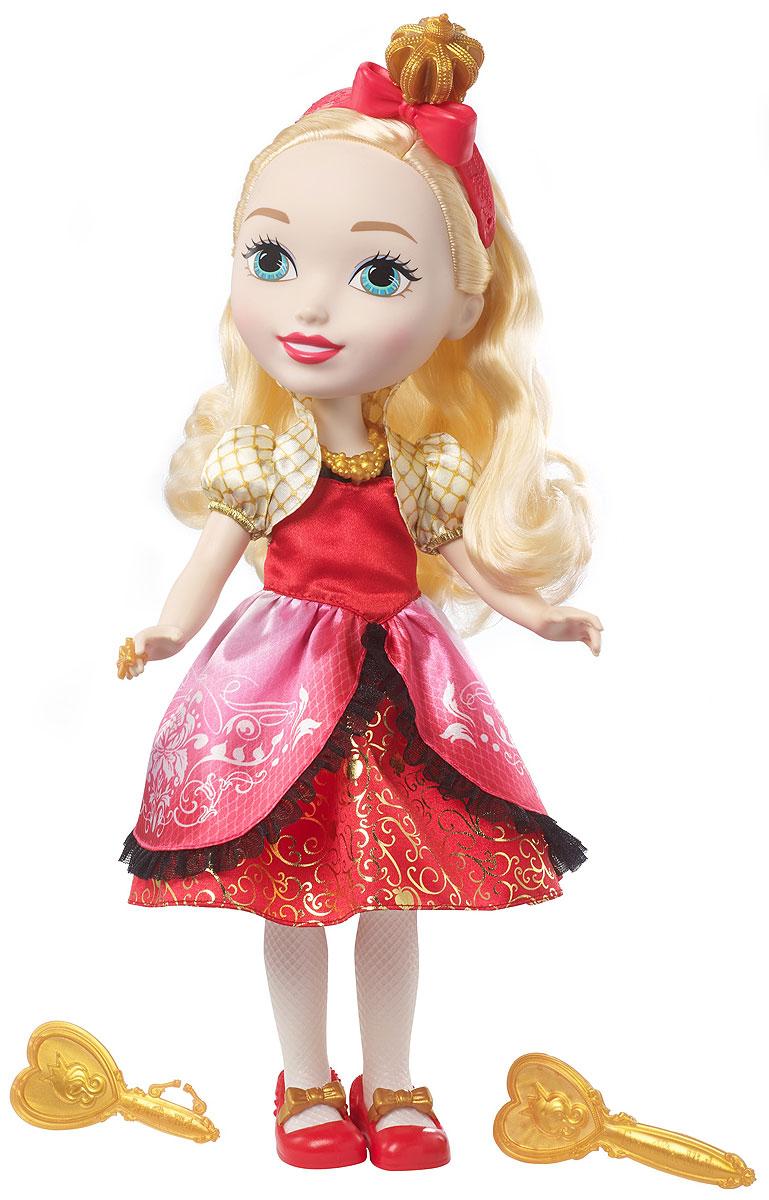 Ever After High Большие куклы принцессы DVJ22_DVJ23DVJ22_DVJ23Еще больше приключений Ever After High с большими куклами Princess Friend Ever After High! Выбери Эппл Уайт или Мэдлин Хэттер. Каждая одета в свой фирменный наряд. На платьях крупные замысловатые сверкающие узоры, пышные подолы и прозрачные рукава. У каждой куклы есть милые туфельки, крупные ожерелья и тематические шляпки. Эппл Уайт держит в руке золотистое зеркальце. А Мэдлин Хэттер носит золотистый чайник вместо сумочки. Возьми кукол с собой куда угодно! В комплекте — большая кукла в модном наряде с аксессуарами, расческой и уникальным предметом.