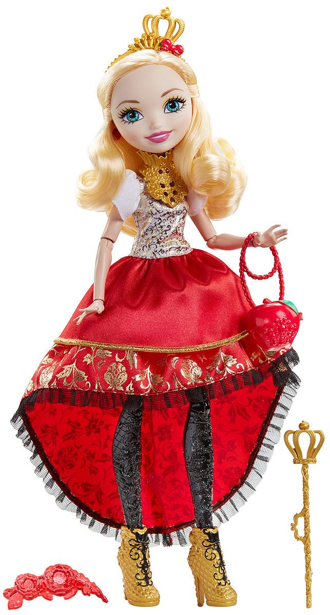 Ever After High Кукла Отважная принцесса Эппл УайтDVJ17_DVJ18Могущественным принцессам Ever After High нужен образ под стать! Бальные платья этих кукол с многослойными юбками и сияющими акцентами легко превращаются в повседневные наряды. А детское кольцо поможет превратить сказку в реальность. Выбери Эппл Уайт, Мэдлин Хэттер или Холли О'Хара. У каждой куклы есть нарядные туфли, ободок, сумочка, а также пояс или ожерелье. В руках у Эппл Уайт уникальный золотой скипетр, Мэдлин Хэттер держит на руках свою мышку, а Холли О'Хара приберегла расческу и гребни. Отправься с сказку со счастливым концом с куклами Ever After High.