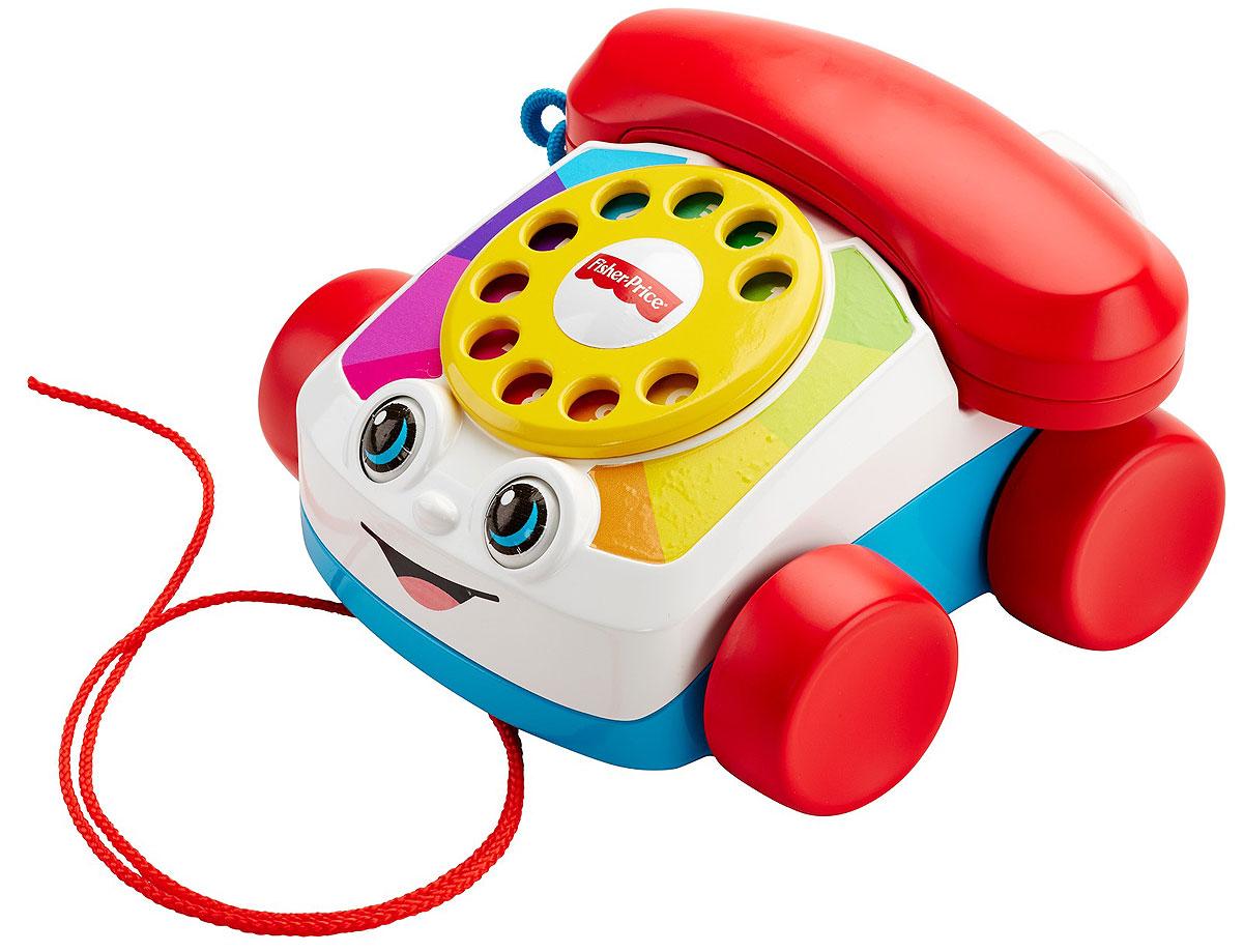 Fisher Price Говорящий телефон на колесахFGW66У говорящего телефона на колесах Fisher-Price симпатичная мордашка, циферблат крутит- ся, звонок звонит, глаза двигаются вверх и вниз, когда игрушку катят. Говорящий телефон дает повод поиграть в разговор по телефону, а заодно помогает раннему развитию: циферблат учит считать до девяти и улучшает мелкую моторику, для крупной моторики полезно катать игрушку, а звуки и яркие движущиеся детали задействуют органы чувств.