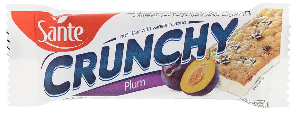 Sante Crunchy батончик мюсли со сливой в ванильной глазури, 40 г
