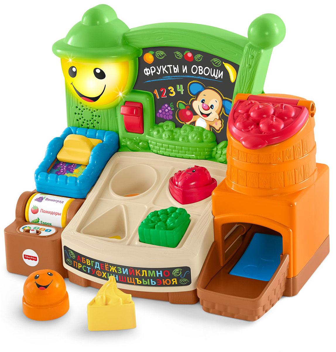 Fisher Price Fisher-Price Прилавок с фруктами и овощами FBM32FBM32В наборе Забавы в супермаркете из серии Веселое обучение более 65 песенок, звуков и фраз, чтобы помочь малышу выучить первые слова, познакомить с простыми явлениями и испанским языком! Сортируйте фрукты, крутите ролик с названиями продуктов, бросате продукты в бочку, включайте и выключайте подсветку и двигайте переключатель в корзинке для покупок. Все действия открывают веселый обучающий контент. Набор работает по технологии Smart Stages. На 1-м уровене игрушка развивает любознательность ребенка. На 2-м уровене ваш малыш учится реагировать на просьбы. На 3-м уровене игрушка мотивирует играть определенную роль.