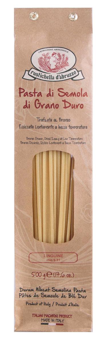 Rustichella паста Лингвини, 500 г88316Паста Rustichella Лингвини - это длинные, плоские и узкие макароны. Их название переводится с итальянского как маленькие язычки. Произведенные на мануфактуре Rustichella, лингвини порадуют вас своим видом и вкусом.