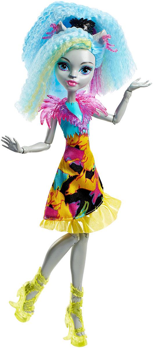 Monster High Кукла Сильви Тимбервульф Под напряжениемDVH65_DVH66Героини нового мультфильма Monster High Под напряжением, просто заряжены весельем! Они модно приоделись и готовы к леденящим кровь приключениям. Одна из них - Сильви Тимбервульф, дочь Серых Оборотней. Её модный наряд прекрасно подходит для зажигательной вечеринки. Сильви одета в яркое платье с воланом. На ногах - оригинальные босоножки на высоких каблуках. Завершают стильный образ зловещей модницы пластиковый розовый воротник, серьги и черная заколка для волос. Шикарные длинные волосы куклы можно расчесывать. Вашей малышке понравится воссоздавать сцены или разыгрывать с куклой сюжеты собственных историй. Руки, ноги и колени у куклы шарнирные, это позволяет придать разнообразные позы. Порадуйте поклонницу Monster High удивительной новинкой в мире Школы Монстров, подарив ей эту замечательную куколку.