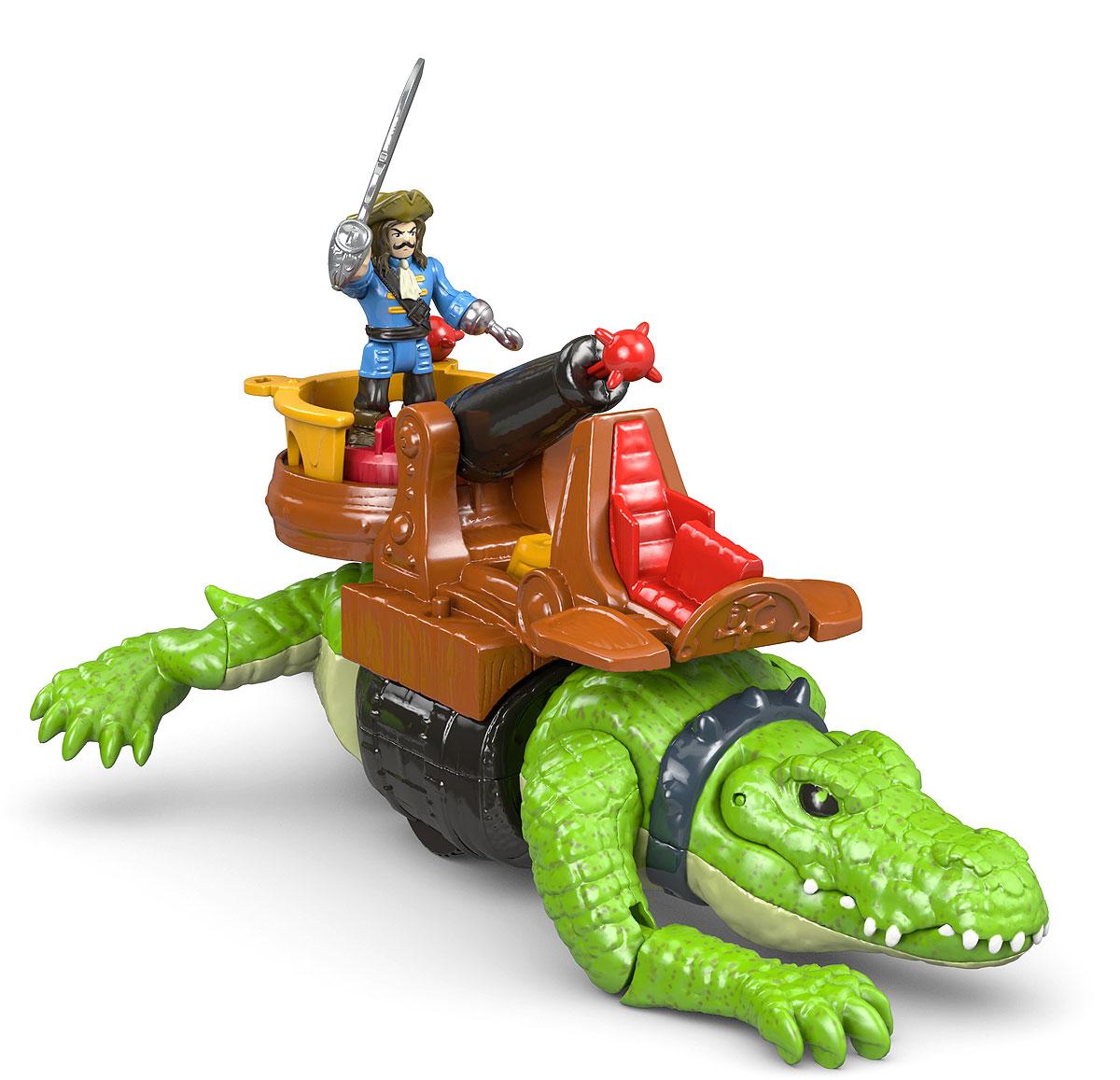 Imaginext Игровой набор Капитан Крюк и крокодил DHH63DHH63Пират Крюк заплатил высокую цену, чтобы обуздать своего грозного крокодила! Теперь на месте левой руки у него крюк! Крюк не остановится ни перед чем, чтобы защитить свои сокровища! Он оседлал гигантского крокодила и даже установил на его спине пушку, чтобы пугать врагов. Когда сокровищам пирата грозит опасность, просто нажми на панель активации, чтобы выстрелить из пушки.Юные пираты могут управлять крокодилом и наблюдать за его реалистичными движениями! Крокодил даже открывает пасть, чтобы схватить похитителей сокровищ. Фигурки пиратов Imaginext позволят детям пережить весь восторг настоящих пиратских приключений.