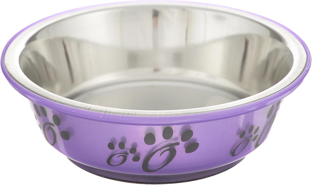 Миска для животных Каскад, цвет: стальной, фиолетовый, 180 мл76800155_стальной, фиолетовый