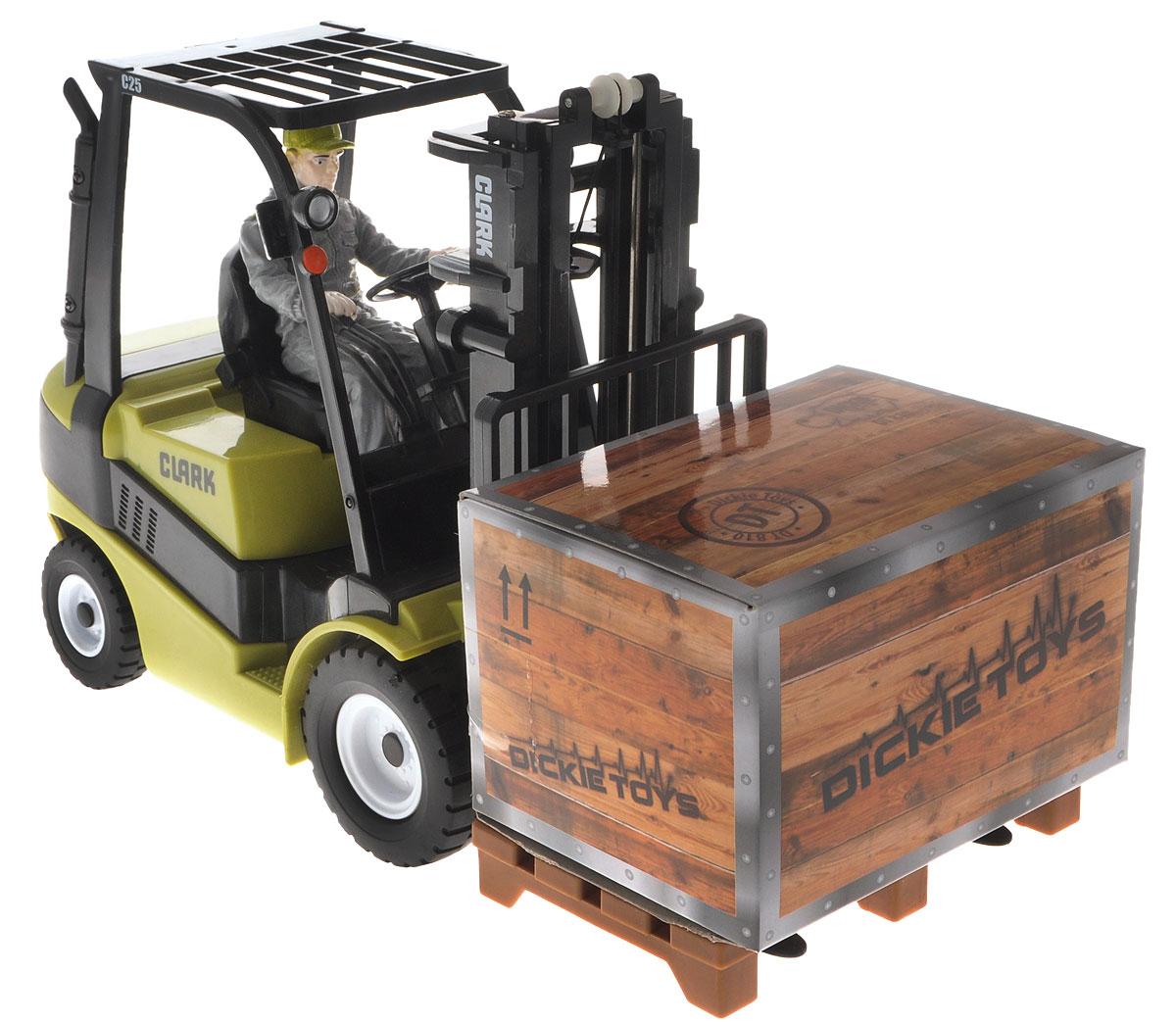 Dickie Toys Подъемник на радиоуправлении Forklift Clark C2519233Подъемник на радиоуправлении Dickie Toys Forklift Clark C25 разнообразит игры вашего ребенка со строительной техникой. Игрушка выполнена из высококачественного безопасного пластика, отличается четкими пропорциями и высокой детализацией. Это точная копия настоящей техники в масштабе 1:16. В машинке предусмотрена фигурка водителя погрузчика. Машина оснащена вилочным погрузчиком, который может поднимать и опускать крупногабаритный груз. Подъем и опускание вилки происходит с помощью пульта управления. Движение машины производится при помощи пульта дистанционного управления (в комплекте). Игрушка может двигаться вперед-влево-вправо, назад-влево-вправо, останавливаться. Радиоуправляемые игрушки развивают у ребенка мелкую моторику, логику, координацию движений и пространственное мышление. Порадуйте своего малыша таким замечательным подарком! Для работы игрушки рекомендуется докупить 4 батарейки типа АА напряжением 1,5V (комплектуется демонстрационными)....
