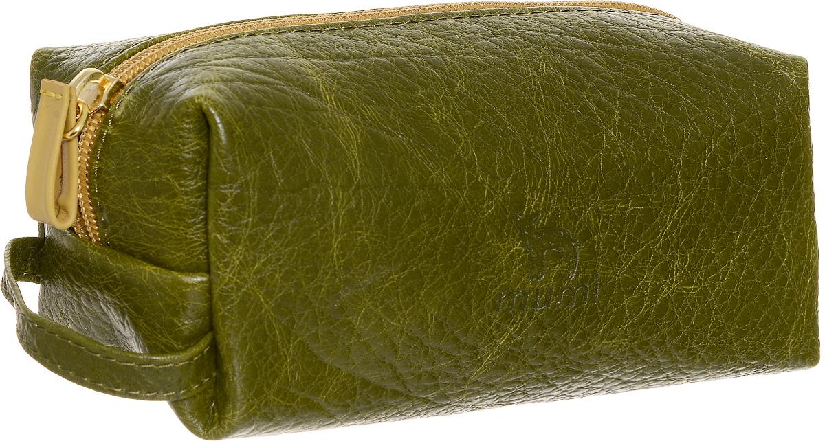 Косметичка Dimanche Mumi, цвет: болотный, желтый. 728_В728_ВКосметичка Dimanche Mumi изготовлена из высококачественной натуральной кожи с фактурным тиснением. Изделие имеет одно отделение. Внутренняя поверхность отделана полиэстером. Закрывается косметичка на застежку-молнию. С одной из боковых сторон изделие оснащено удобной ручкой. Косметичка Dimanche Mumi - яркий стильный аксессуар, который станет незаменимым для хранения косметики. Благодаря компактным размерам она поместится в любую сумочку.